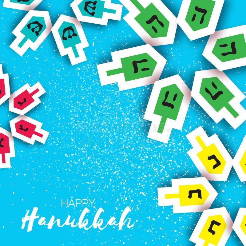 Happy hanukkah with dreidels - spinning top. Jewish holiday royalty free illustration
