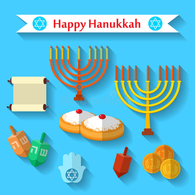 Happy Hanukkah flat vector icons set with dreidel game, coins, hand of Miriam, palm of David, star of David, menorah, traditional stock illustration