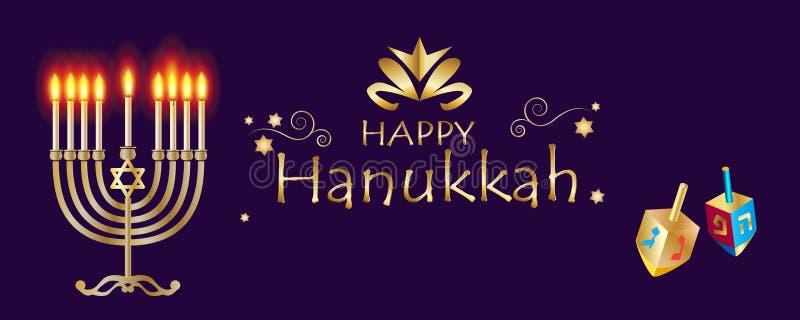 Hanukkah menorah, chanukiah or hanukkiah, nine-branched candelabrum lit during the eight-day holiday of Chanukkah Hanuka festival. Happy Hanukkah Gold Menorah vector illustration