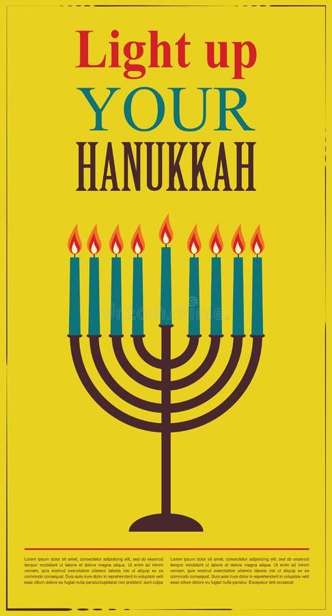 Happy Hanukkah greeting card design, jewish holiday. Vector illustration royalty free stock image