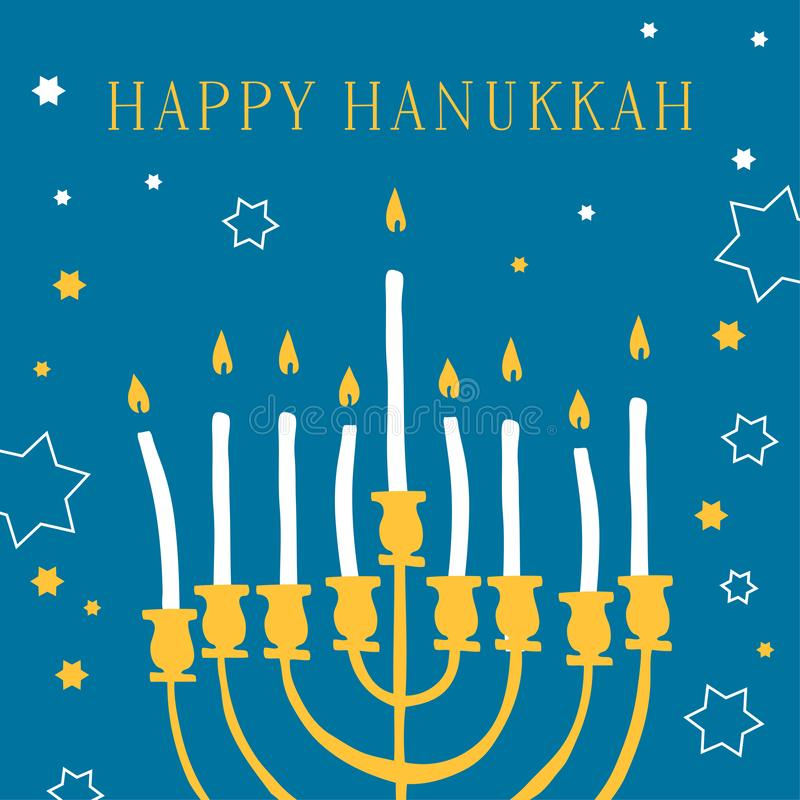 Happy Hanukkah. Greeting card design template with mehorah and candles. Hand drawn sketch vector illustration vector illustration