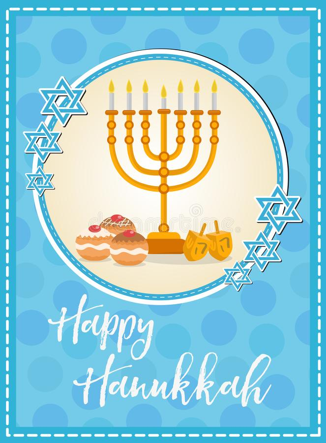 Happy Hanukkah greeting card, flyer, poster. Template for your invitation design. With menorah, sufganiyot, bunting stock illustration