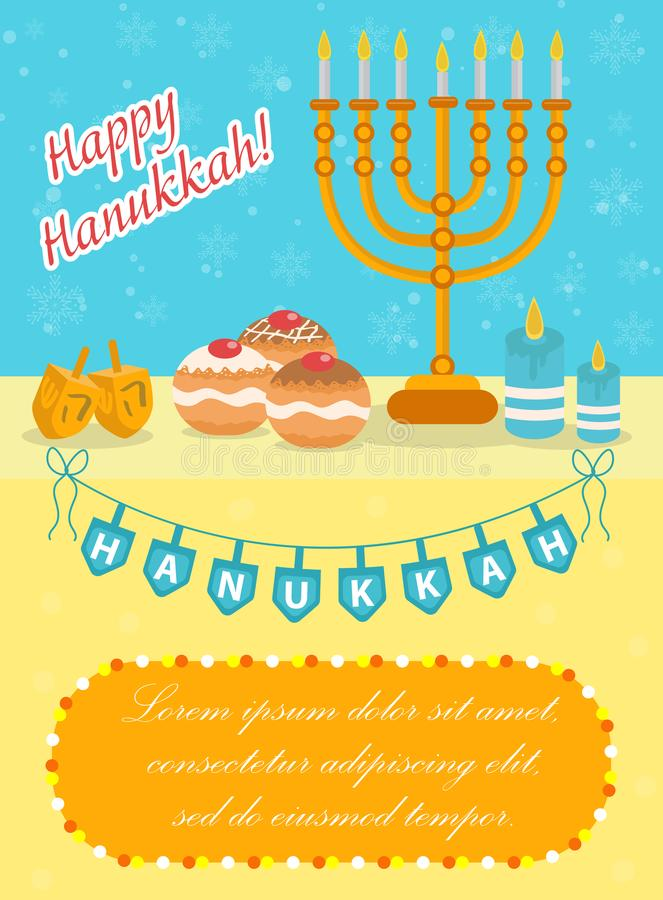 Happy Hanukkah greeting card, flyer, poster. Template for your invitation design. With menorah, sufganiyot, bunting vector illustration