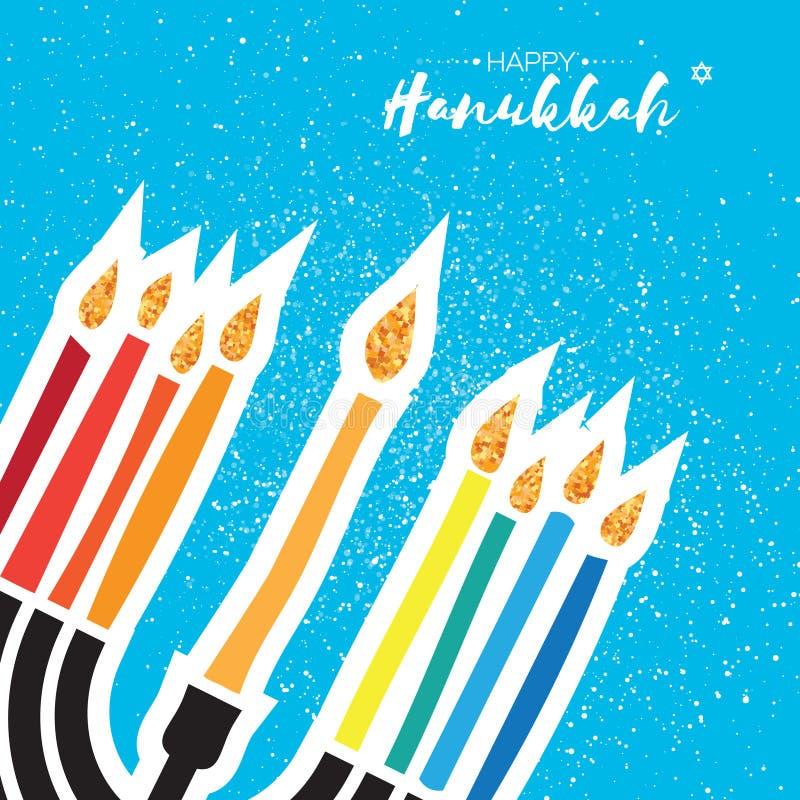 Happy Hanukkah Greeting card. Hanuka juish vector illustration. jewish menorah. Hanuka candles symbol. Square frame. For text. Vector illustrator royalty free illustration