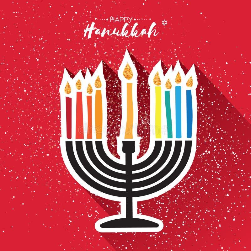 Happy Hanukkah Greeting card. Hanuka juish vector illustration. jewish menorah - traditional candelabra and burning. Candles. Hanuka candles symbol. Red vector illustration