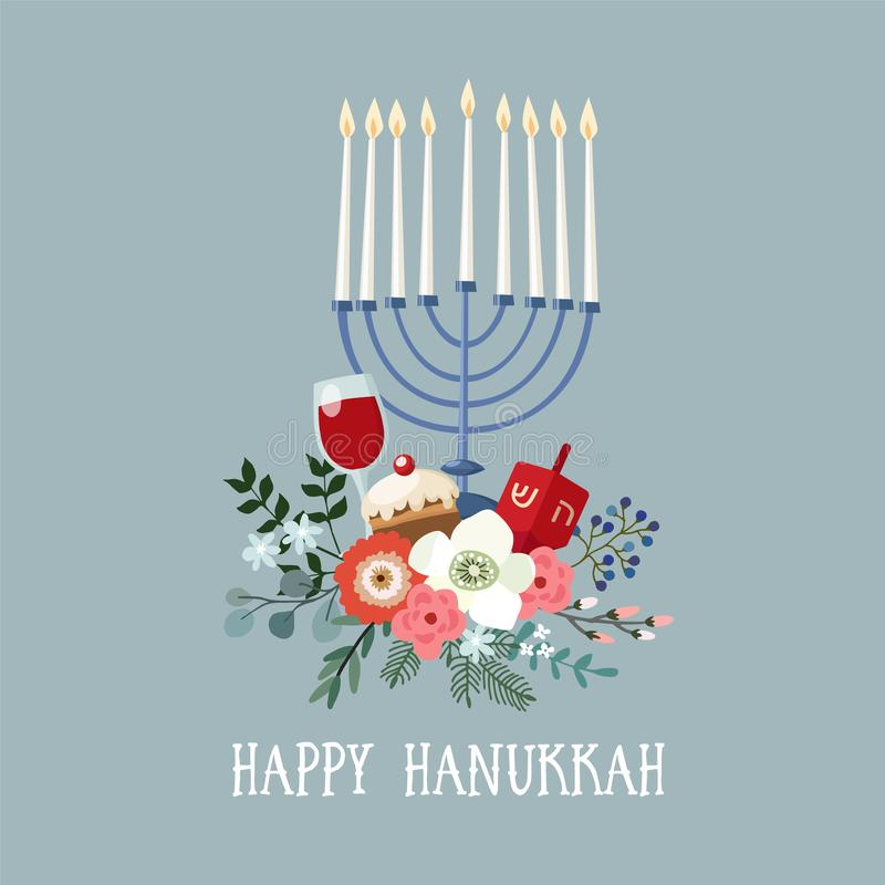 Happy Hanukkah greeting card, invitation with hand drawn candleholder, dreidle, donut and floral bouquet. Vector royalty free illustration