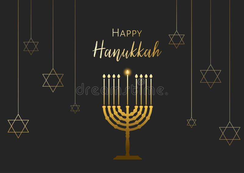 Happy Hanukkah Greeting card with menorah candles and David stars. Vector illustration for Jewish holidays.  stock illustration