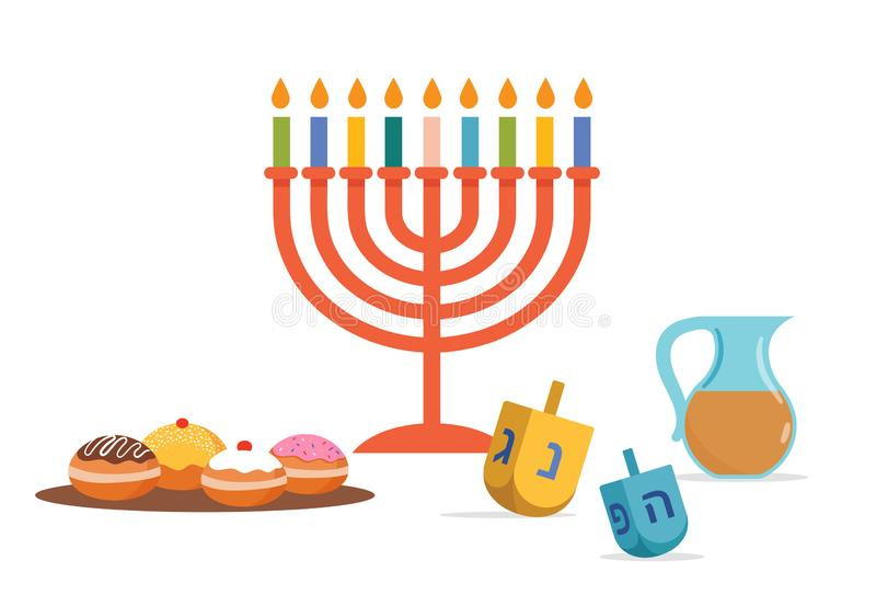 Happy Hanukkah, Jewish Festival of Lights background for greeting card, invitation, banner. With Jewish symbols as dreidel toys, doughnuts, menorah candle stock illustration
