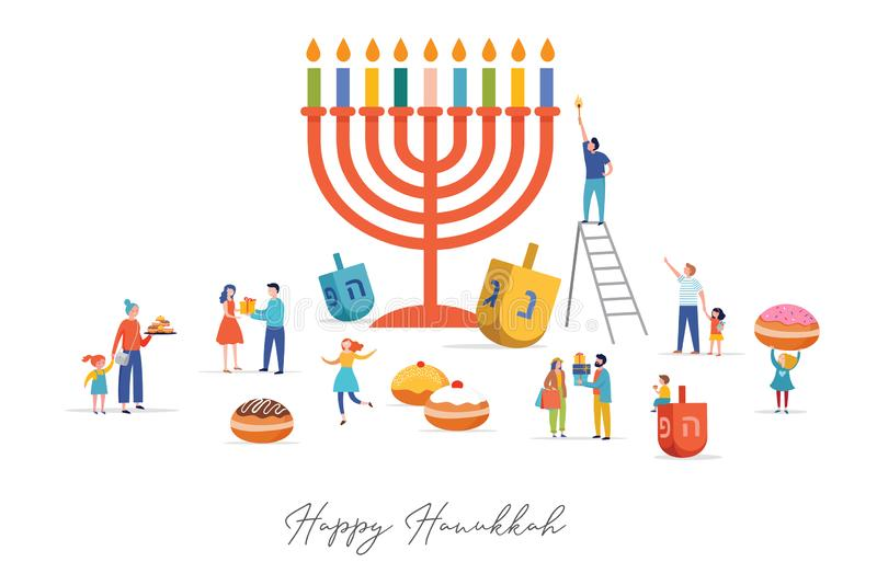 Happy Hanukkah, Jewish Festival of Lights scene with people, happy families with children. Vector illustration stock illustration