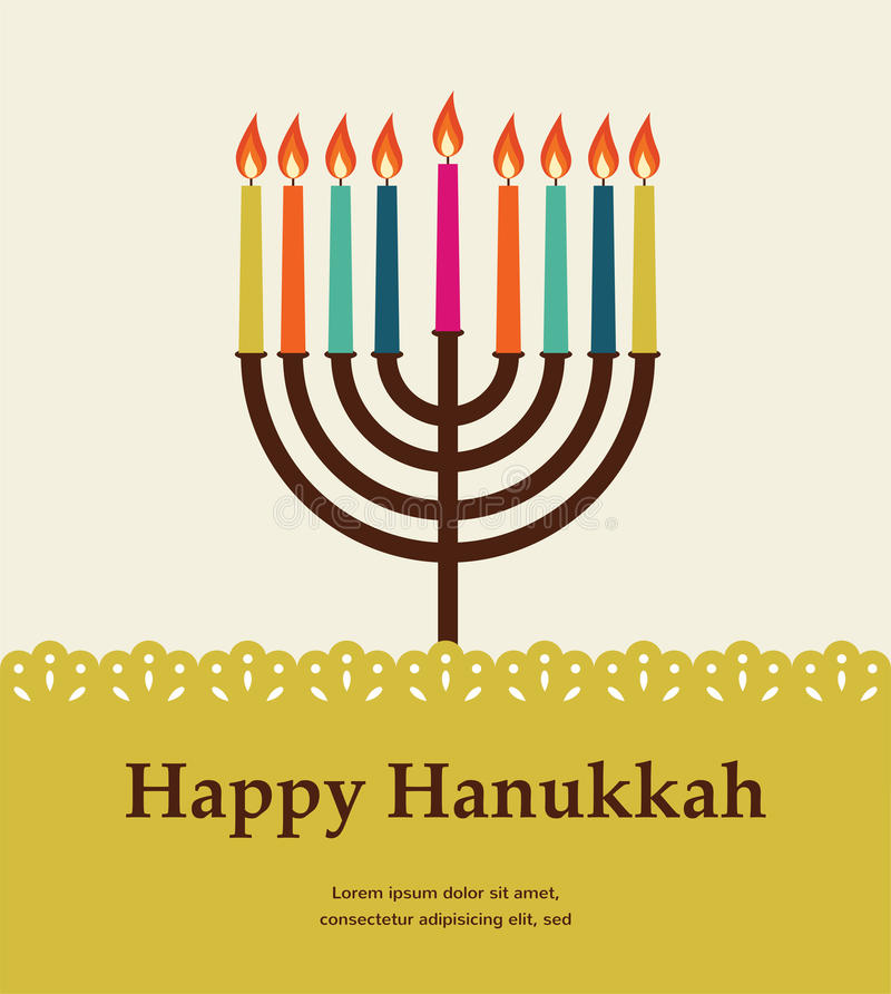Happy hanukkah, jewish holiday. stock illustration