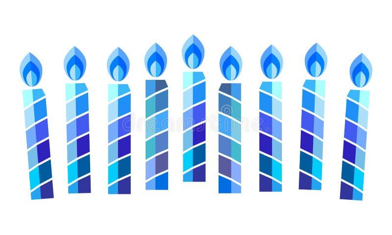 Happy Hanukkah Menorah Hebrew Blue color lettering greeting card traditional Chanukah symbols royalty free illustration