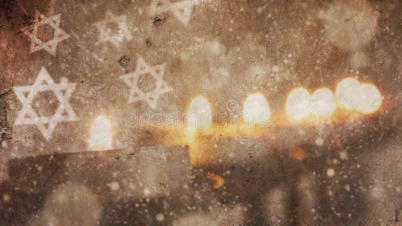Happy Hanukkah.Menorah Snow stock images