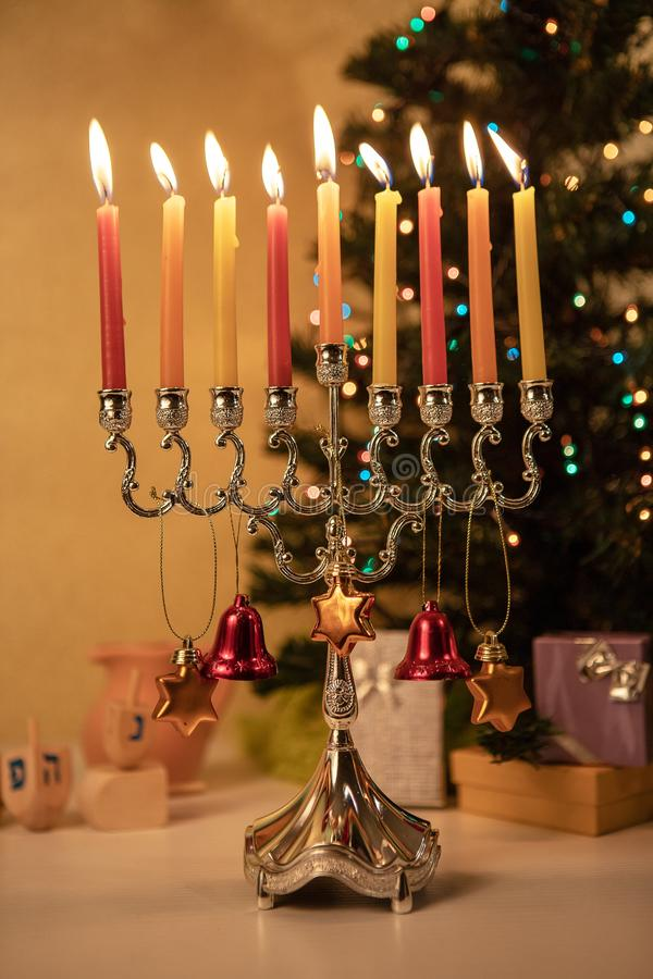 Happy Hanukkah and Merry Christmas celebrated together royalty free stock photo