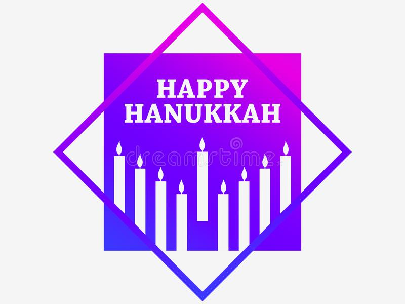Happy hanukkah. Poster with nine candles in a frame, gradient purple. Vector stock illustration