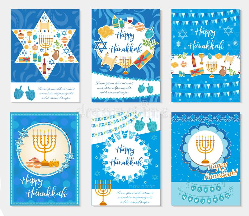 Happy Hanukkah set of greeting cards, flyer, poster. vector illustration