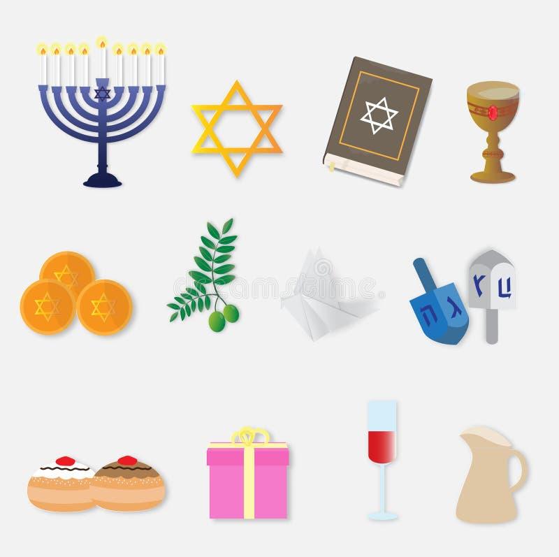 Happy Hanukkah celebration with set of icons vector illustration