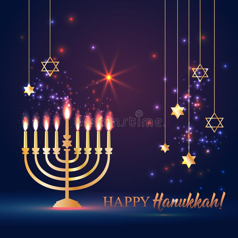 Happy Hanukkah Shining Background with Menorah, David Star and Bokeh Effect. illustration on dark. vector illustration