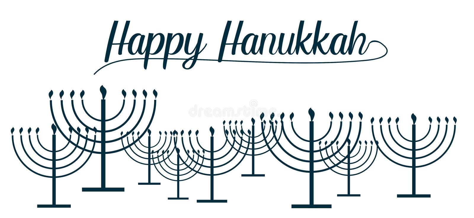 Happy Hanukkah text and repeat pattern of simple outline Hanukkah menorah with burning candles in blue color with empty background royalty free illustration