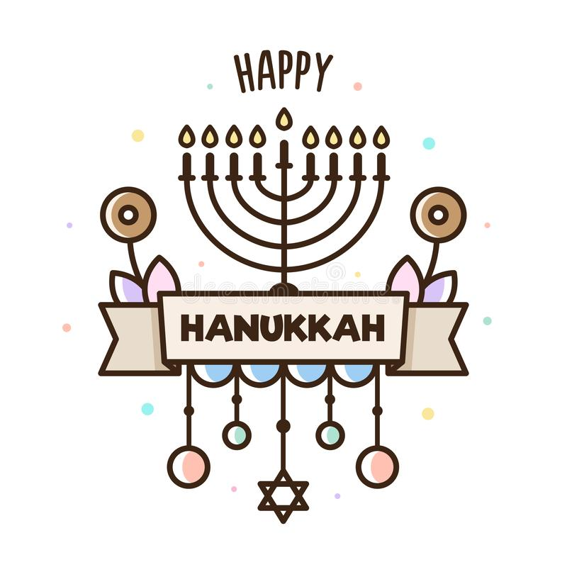 Happy Hanukkah. Vector illustration. Jewish holiday. Banner. Happy Hanukkah. Vector illustration. Jewish holiday Banner stock illustration