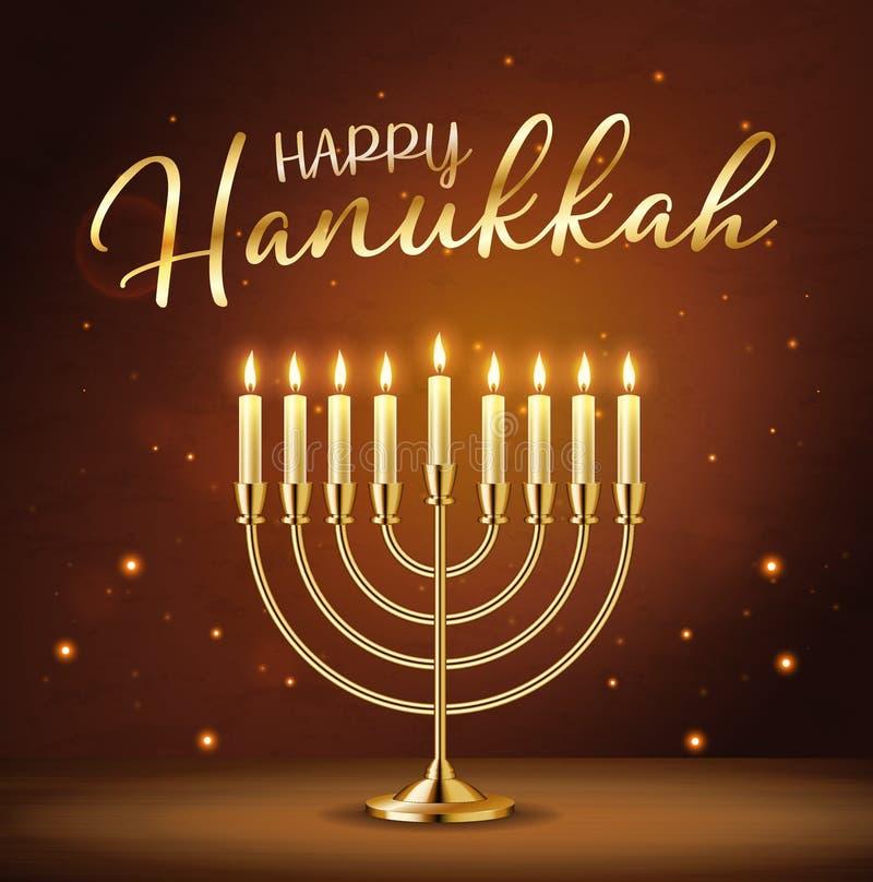 Happy Hanukkah-wenskaart met gouden inscriptie en Golden realistische menorah, kandelaar met brandende kaarsen stock illustratie