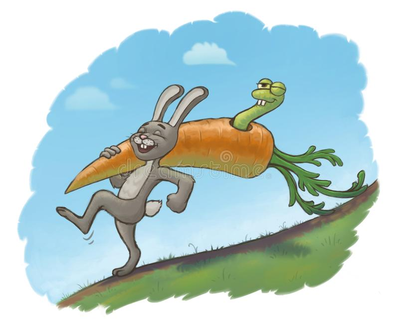 Happy hare found a big carrot stock images
