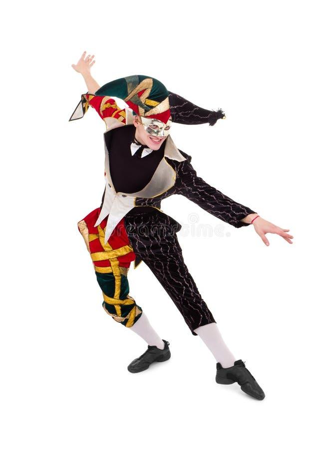 Happy Harlequin posing royalty free stock photography
