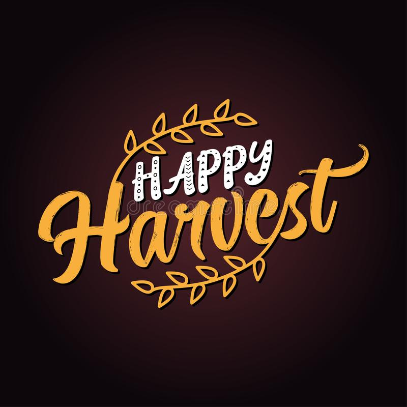 Happy Harvest - Hand drawn vector text. vector illustration