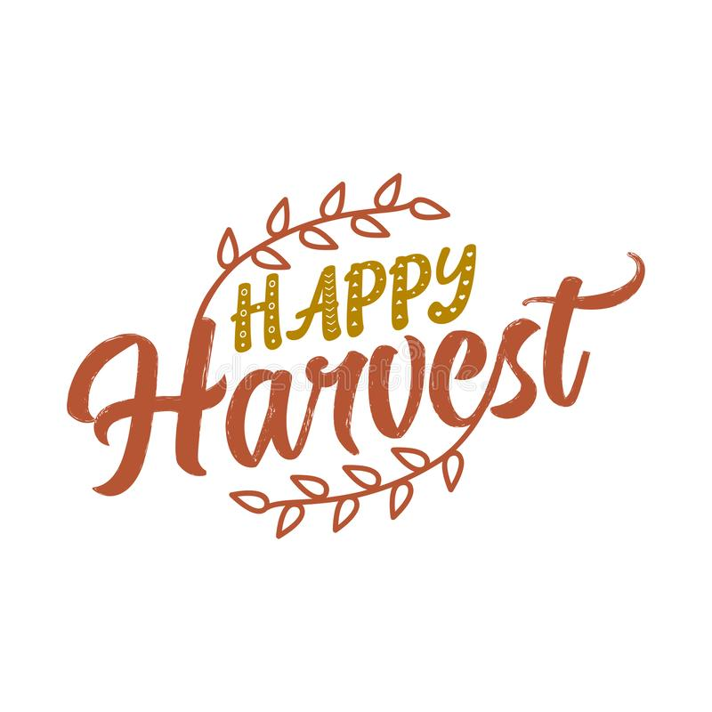 Happy Harvest - Hand drawn vector text. Autumn color poster. vector illustration