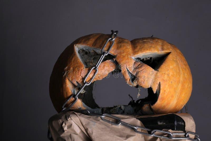 Happy Haunting. halloween. scary halloween pumpkin with evil face. spooky pumpkin - jack o lantern. preparation time. Happy Haunting. halloween. scary halloween royalty free stock photo