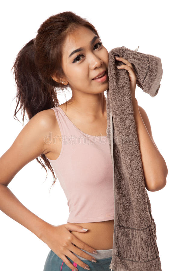 Free Happy Healthy Asian Girl Wipe The Sweat After Work Out Royalty Free Stock Images - 44987749