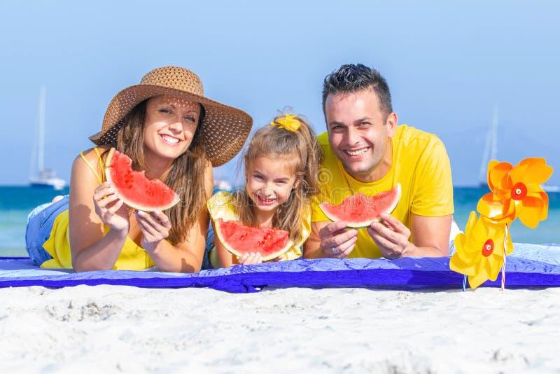 Happy healthy family vacations stock photos