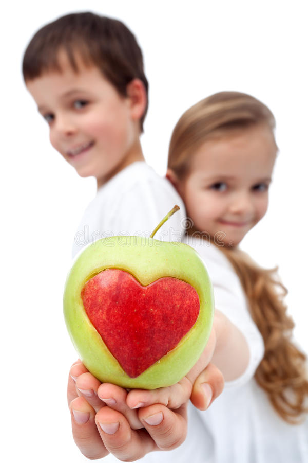 Download Happy Healthy Kids Holding Apple Stock Image - Image: 23821573