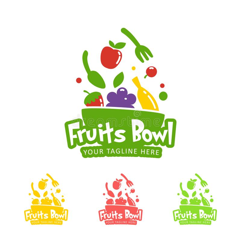 Happy healthy smoothie fruits bowl logo icon symbol color and one color set. Happy healthy smoothie fruits bowl logo icon symbol set collection in different royalty free illustration