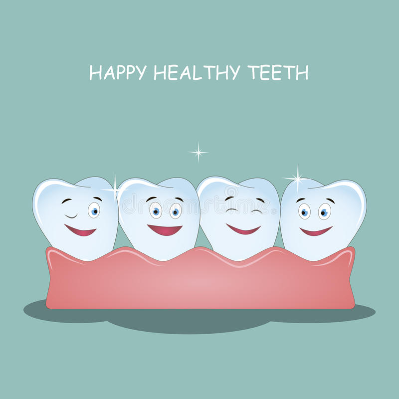 Happy healthy teeth. Illustration for children dentistry and orthodontics. Image of happy teeth with gums. stock illustration