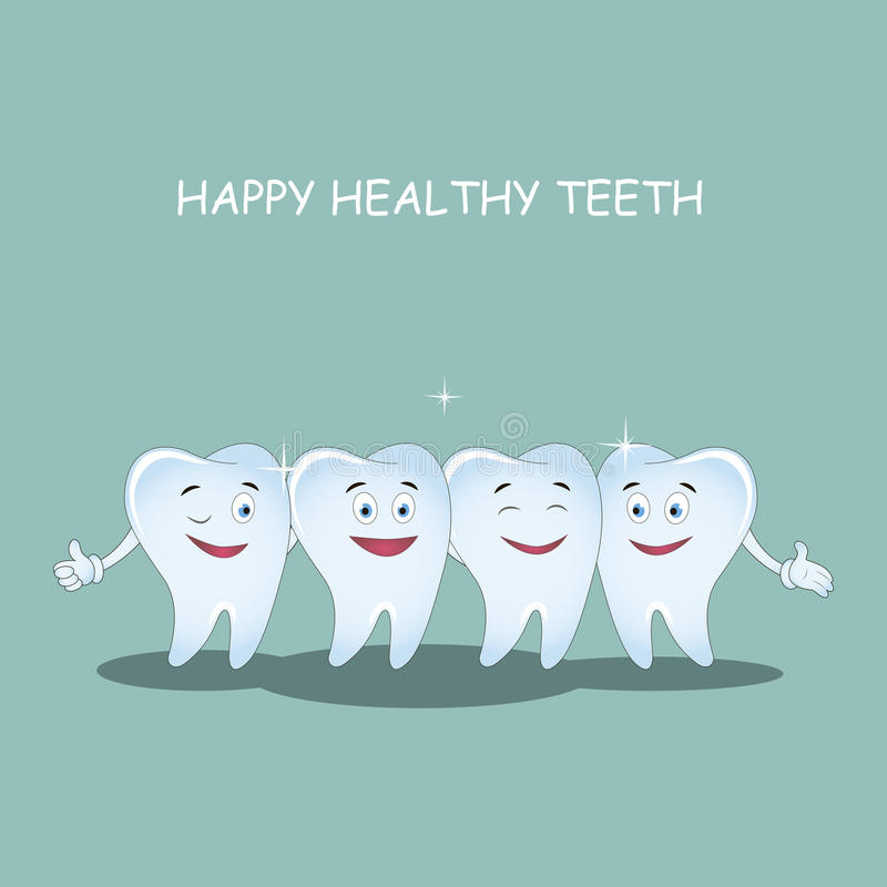 Happy healthy teeth. Vector. Illustration for children dentistry and orthodontics. Happy healthy teeth. Vector illustration. Illustration for children dentistry stock illustration