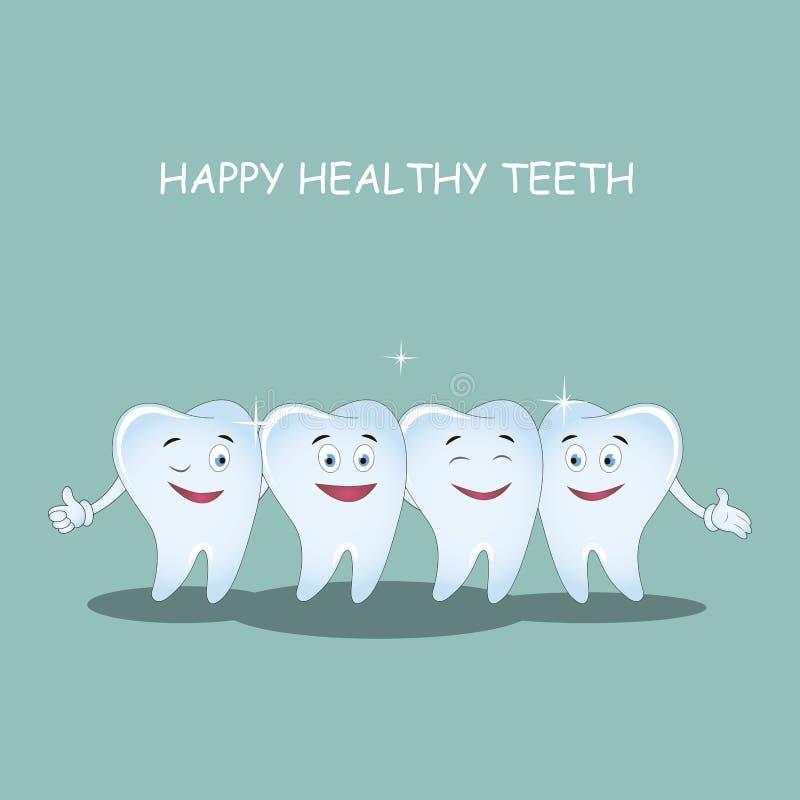 Happy healthy teeth. Vector. Illustration for children dentistry and orthodontics. stock illustration