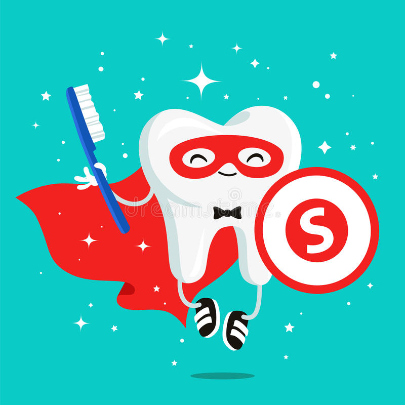 Happy healthy tooth in a red cloak royalty free illustration