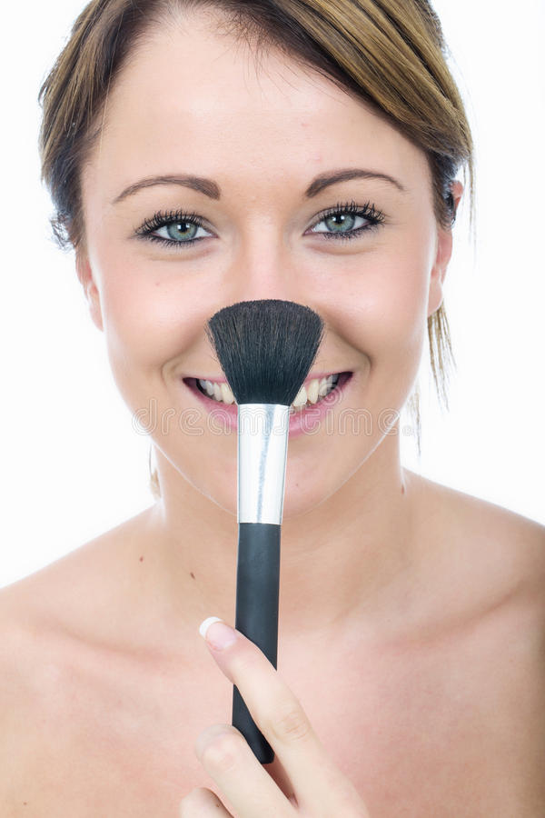 Happy Healthy Young Woman with Face Powder Brush on Nose Smiling royalty free stock photos