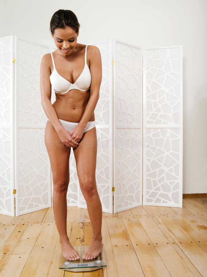 Happy with her weight loss stock image