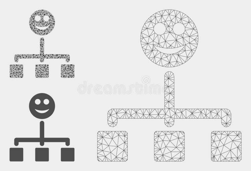 Happy Hierarchy Vector Mesh 2D Model and Triangle Mosaic Icon stock illustration