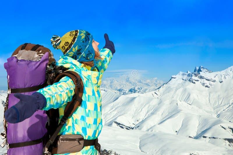 Happy hiker girl royalty free stock photos