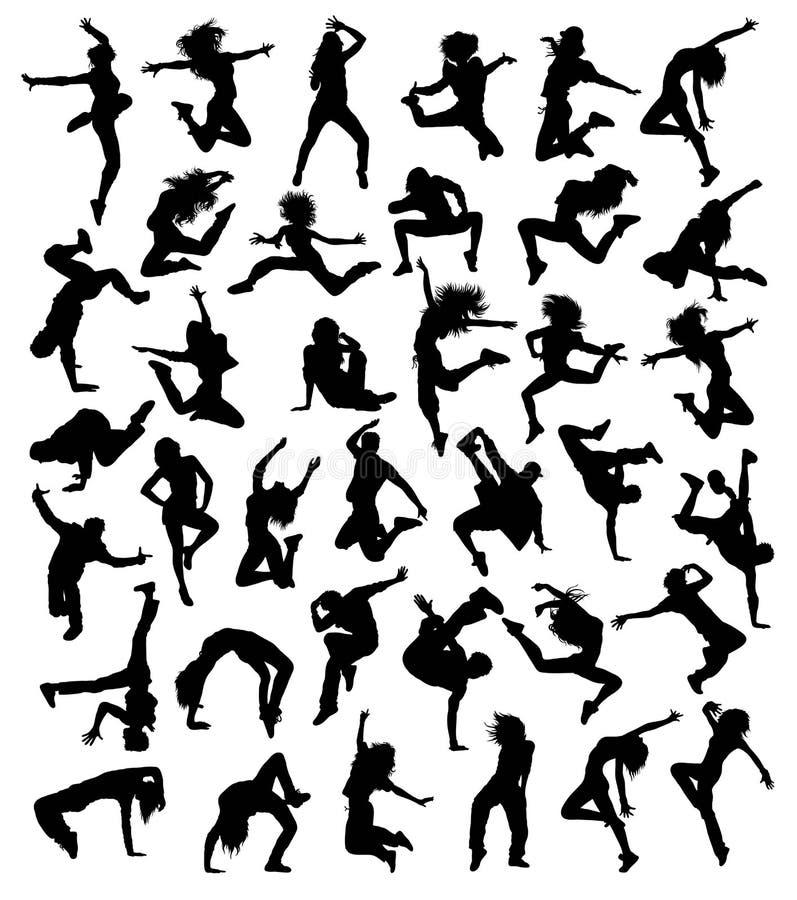 Happy Hip Hop Silhouettes stock illustration