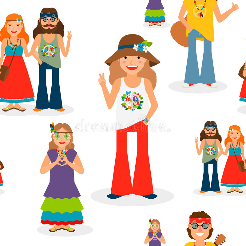 Happy hippie people seamless pattern royalty free illustration