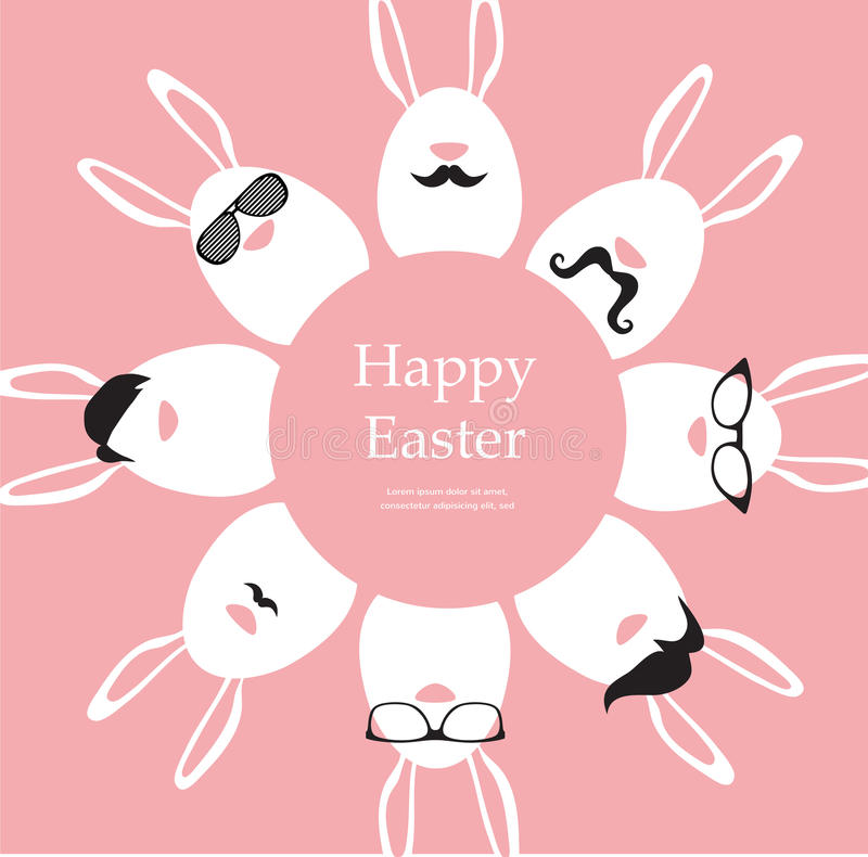 Happy Hipster Easter - set of stylish bunny/eggs icons royalty free illustration