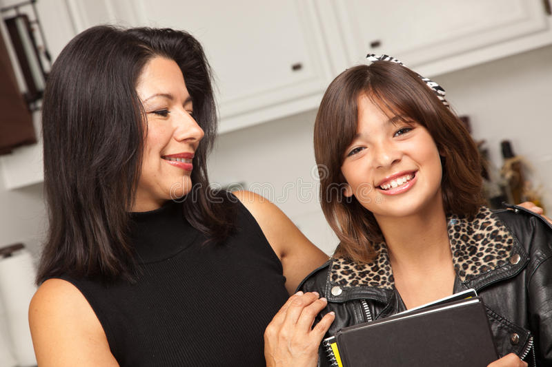 Download Happy Hispanic Girl Ready For School With Mom Stock Image - Image of up, beauty: 28057623