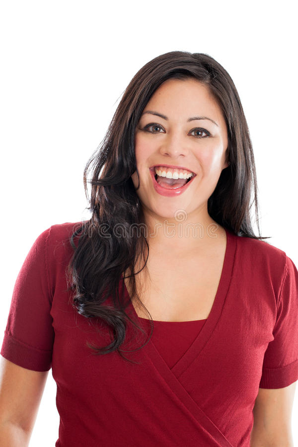 Happy Hispanic woman portrait isolated on a white background stock images