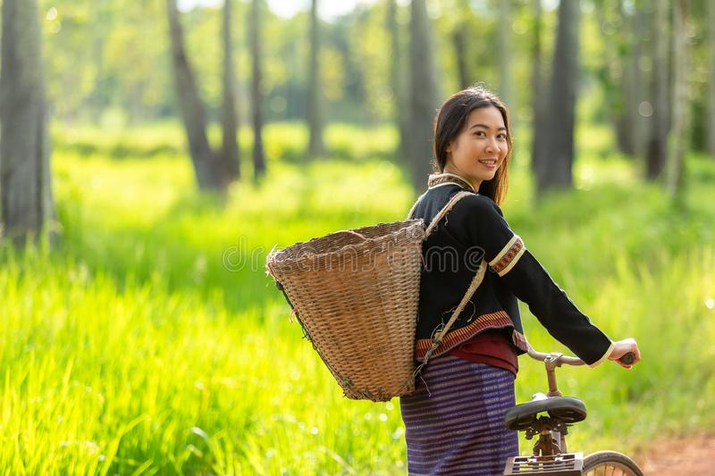 Happy Hmong women smiling sit outside at Giang Ta Chai village, stock photo