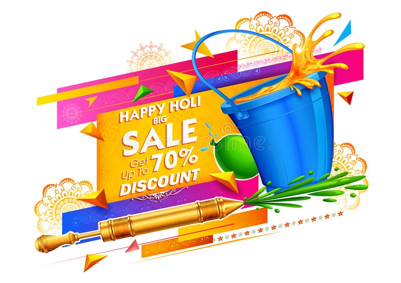 Happy Holi Advertisement Promotional background for Festival of Colors celebration greetings. Illustration of colorful Happy Holi Advertisement Promotional stock illustration