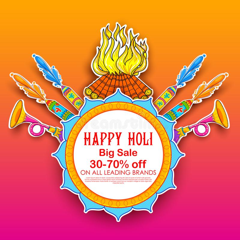 Happy Holi Advertisement Promotional backgroundd for Festival of Colors celebration greetings. Illustration of colorful Happy Holi Advertisement Promotional stock illustration