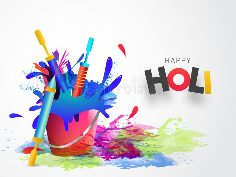 Happy holi background with color bucket and guns for Indian festival of colors. vector illustration